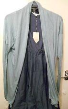 Softest Fine Jersey Wrap Asymmetric Cardigan blue M 10 12 Lagenlook Layering