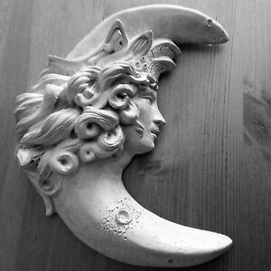 """Handmade 9"""" Wall Sculpture Crescent Moon Goddess for Home, Garden, Ready to Hang"""