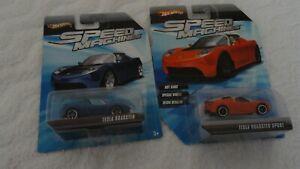 Hot Wheels Speed Machines Orange Tesla Roadster and Blue Tesla Roadster !!!!