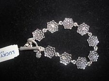 LUCKY BRAND,AUTHENTIC NWT,SILVER TONE,FLOWER LINK , BRACELET.