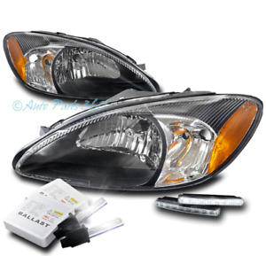 FOR 00-07 FORD TAURUS HEADLIGHT LAMP BLACK LEFT+RIGHT W/DRL LED+6000K XENON HID