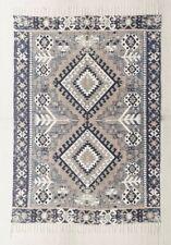 Urban Outfitters Rug Blue Taupe Gray Ivory Fringe Hana Kilim Printed 5 X 7 NWT
