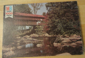 MB Vtg 1000 Pc Springfield Series COVERED BRIDGE Jigsaw Puzzle NOS UNOPENED