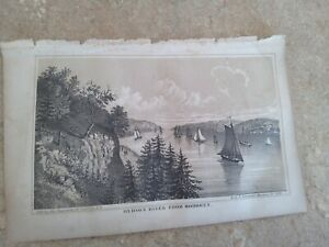"""1860 Valentine's Manual of New York City Art SHIPS """" HUDSON RIVER from HOBOKEN """""""