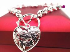 14K 14ct White Gold GF Solid Padlock & Hearts Women Men Charm Bracelet 8 inch