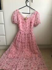 Kawaii Lolita Pink Floral Dress Size S/M UK 6/8 Edwardian Victorian Mori Flower