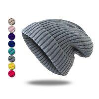 Women Knitted Hat Sweet Skull Cap Slouchy Beanie Hats Solid Color Stocking Cap