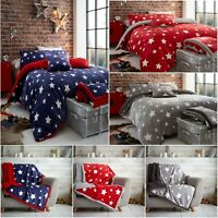 Teddy Bear Fleece STARS Duvet Cover Set Sherpa Thermal Warm Soft Cozy Bedding