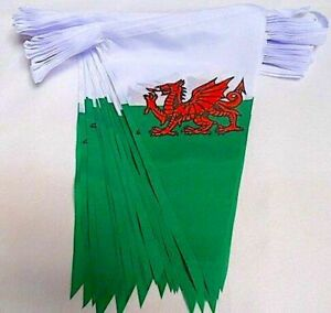 10 METRE Wales Welsh Dragon CYMRU Rugby Triangle Flag Bunting SPEEDY DELIVERY