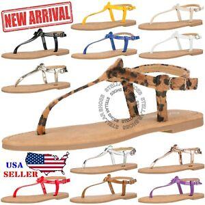 [NEW] CLOVERLAY Women's Sandals Gladiator Strappy Flat Flip Flops Jelly Sandal