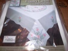 """Tobin Stamped Tablecloth COUNTRY GARDEN 58"""" x 90""""  Embroidery"""