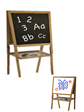 Abaseen Kids Children's Wooden Double Sided Black and White Board Table Easel