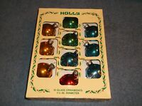 """VINTAGE SET OF 10 HOLLY 1 3/4"""" MERCURY GLASS BALL CHRISTMAS ORNAMENTS IN BOX"""