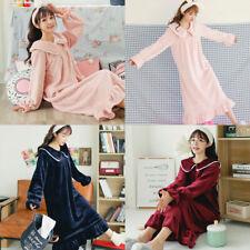 Women Winter Pajamas Flannel Night Dress Loose Nightgown Soft Warm Sleepwear New