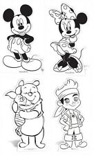 Mickey & Minnie & WInnie The Pooh & Jake CARDBOARD CUTOUTS Colour your own!