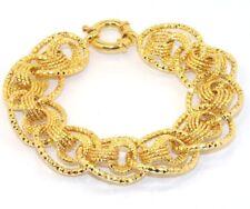 "8"" Technibond Diamond Cut Rolo Curb Bracelet 14K Yellow Gold Clad Silver"