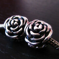 2PCs Silver Rose Flower Charm Beads For All European Style Charm Bracelets