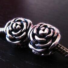 2PCs Silver Rose Flower Charm Beads For All European Style Charm Bracelets