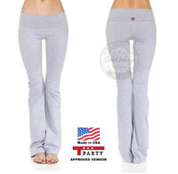YOGA Fitness Foldover Pants Flare Long Leg Women Athletic Workout Gym T Party US