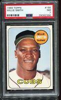1969 Topps Baseball #198 WILLIE SMITH Chicago Cubs PSA 7 NM !