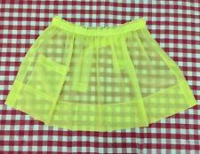 VINTAGE APRON - 50s-60s Mid-Century Yellow Sheer Waist Tie Sexy Hostess Apron