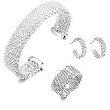 925 Sterling Silver Plated Weave Net Chain Bracelet Earing Jewelry Set BY US HK