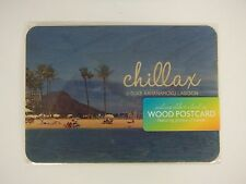 Hawaiian Wood Postcard/Chillax/Duke Kahanamoku Lagoon/Handmade In Hawaii/New