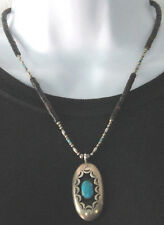 Vintage Pawn Sterling Silver Navajo Heishi 925 Bead Turquoise Shadowbox Necklace