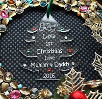Personalised Baby's First/1st Christmas Tree Decoration TREE with embellishment