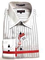 Mens Leonardi  Cuff Dressy very stylish Shirt Edition whites stripe #055