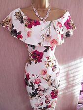 Vintage Cream Bardot Off Shoulder Floral Cocktail Party Dress Size 8 NEW