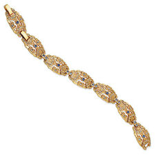 "Gold-Plated Jackie Kennedy Vintage Art Deco Swarovski Elements Bracelet 7""+ 1"""
