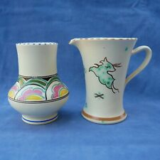 More details for pair of honiton pottery colourful vases west country devon ware jug/mug & vase