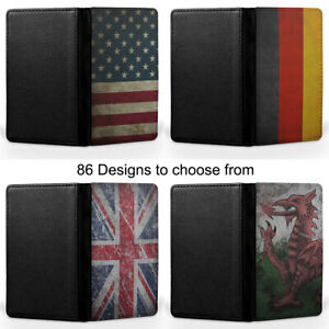 Country Flags India England USA Turkey Passport Holder Faux Leather Cover Case