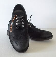 Frank Wright Baird Black Oiled Suede Leather Derby Dress Wingtip Shoes Size 11M