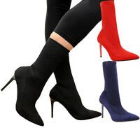 New Ladies Ankle Sock Boots Chelsea Womens Party Stiletto Heels Court Shoes Size