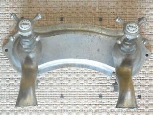 ANTIQUE FRENCH BATHROOM BRONZE DOUBLE FAUCET sign. ZELL rue du Delta PARIS 1930