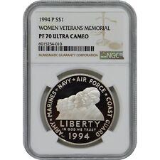 1994-P Women Veterans Memorial Proof Commemorative Proof Silver Dollar NGC PF70