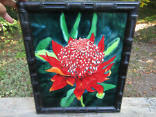 "GIANT Antique Tile Floral Flower Embossed Majolica 15.5"" x 12.5"" Red & Green"