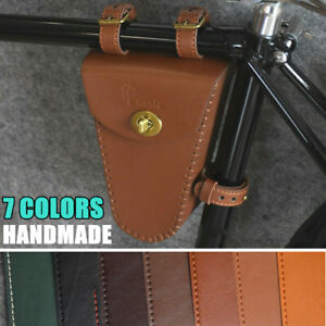 Classic Retro Bicycle Beam Triangle Frame Bag Leather Vintage Bike Bag Handmade
