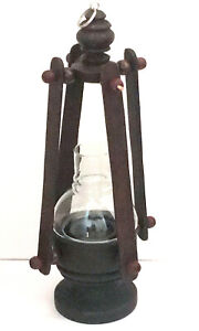 Vintage Wooden Lantern Rustic Table lamp Decor Antique Thai Hand Pattern Candle