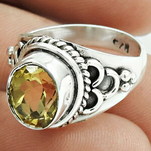 Oval Shape Citrine Gemstone Ring Size L 1/2 925 Sterling Silver Jewelry T1