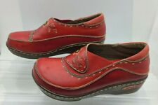 Women's Spring Step Shoes Burbank Clogs Red Leather EU 38