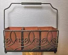 """Vintage Metal Holder with 3 Sections & Handle 11.5 x 11.5 x 3.5"""" Includes Handle"""