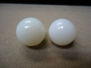 2 Vintage Akro Agate Opalescent Glass Moonie Marbles  11/16  To 3/4   Mint +