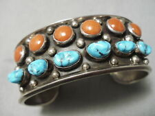 One Of The Best Vintage Navajo Coral Turquoise Sterling Silver Bracelet Old