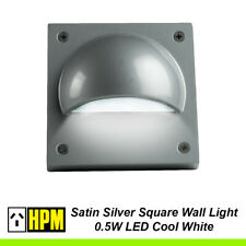 12V LED Outdoor Wall & Step Light Silver Square 100mm x 100mm 0.5W HPM