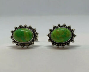 Lite Green Turquoise Silver Plated Bronze Created Oval Cufflinks Handmade India