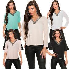 Klassische hüftlange 3/4 Arm Damenblusen, - tops & -shirts aus Polyester