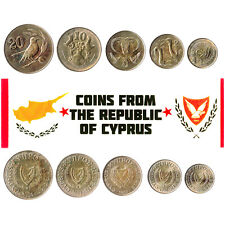 5 Cypriot Coins. Different Coins. Middle East. Foreign Currency, Valuable Money